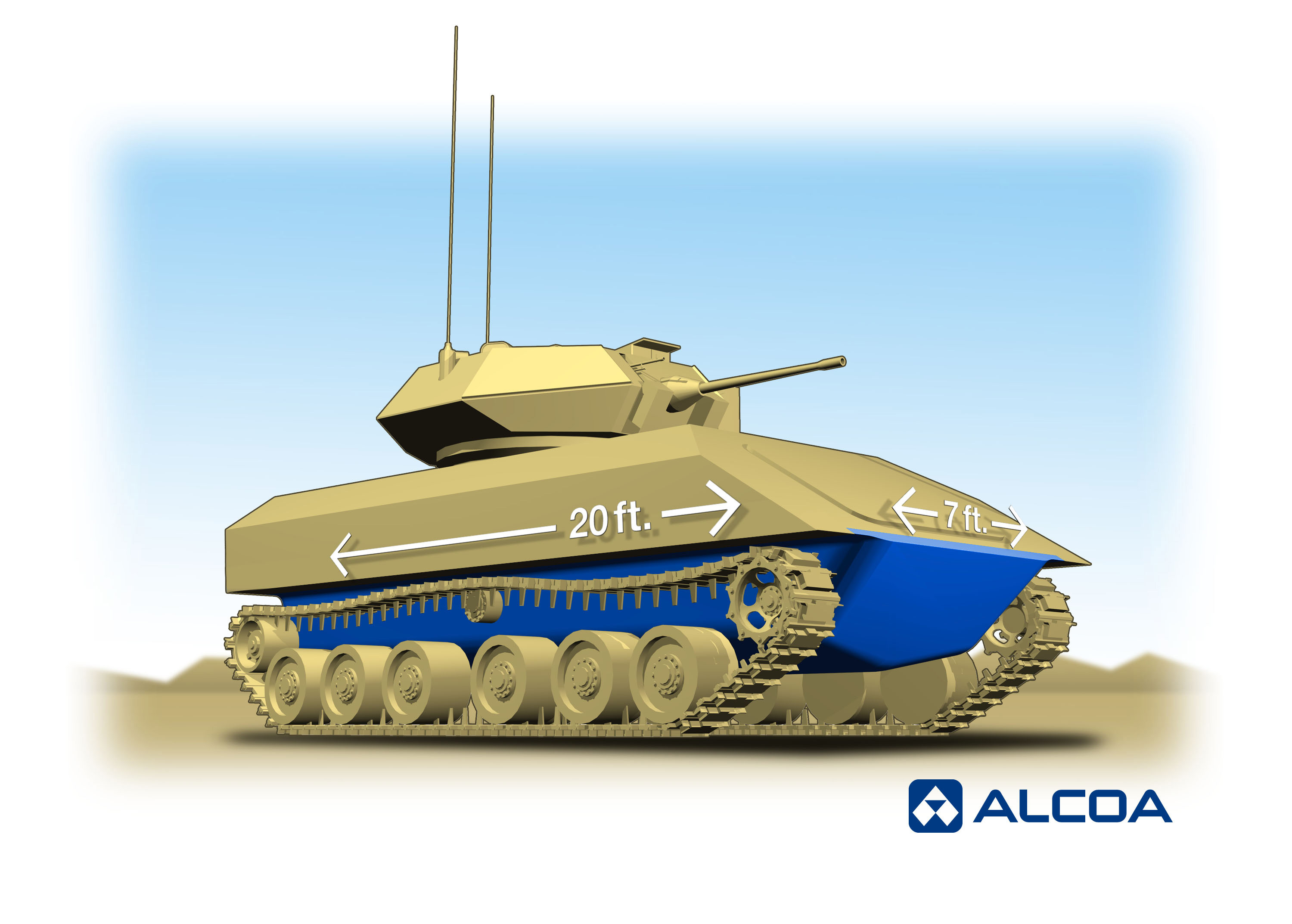 Alcoa and the U.S. Army Research Laboratory have launched a cooperative effort to develop the world's largest single-piece aluminum hull for ground combat vehicles, shown here, to improve the military's defense against a grave threat to soldier safety: Improvised Explosive Devices (IEDs). (Photo: Business Wire)
