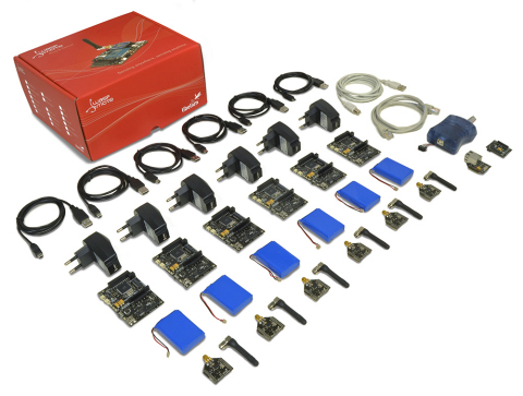 The Waspmote Mote Runner Internet of Things Lab Kit includes 5 end nodes, sensors, solar panels and  ...