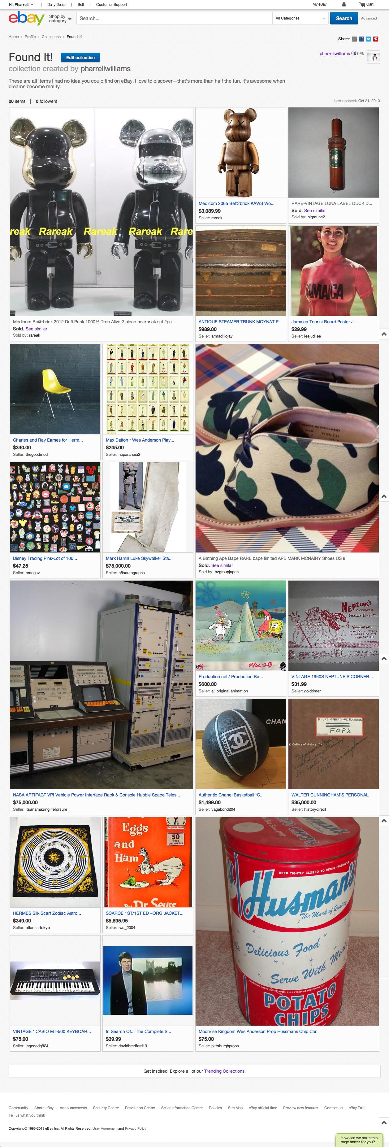 Pharrell Williams' eBay collection