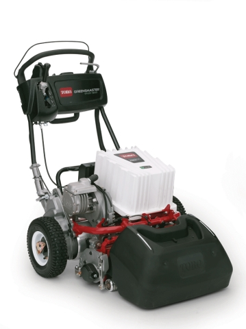 Industry first lithium-ion, battery-powered Toro Greensmaster eFlex walk greens mower (Photo: The To ...