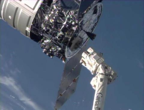 The moment of release of Orbital's Cygnus spacecraft was captured on NASA TV yesterday in this scree ...
