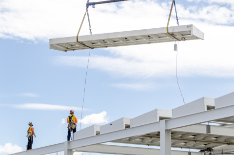 NRG Energy lifts the 49th solar frame into place, completing phase one of the solar installation at Levi's(R) Stadium, the future home of the San Francisco 49ers. (Photo: Business Wire)