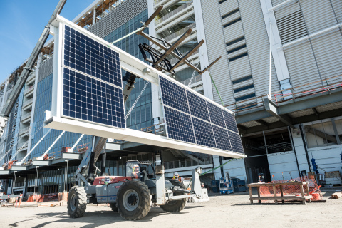 NRG Energy prepares the 49th solar frame, which will complete phase one of the solar installation at Levi's(R) Stadium, the future home of the San Francisco 49ers. (Photo: Business Wire)