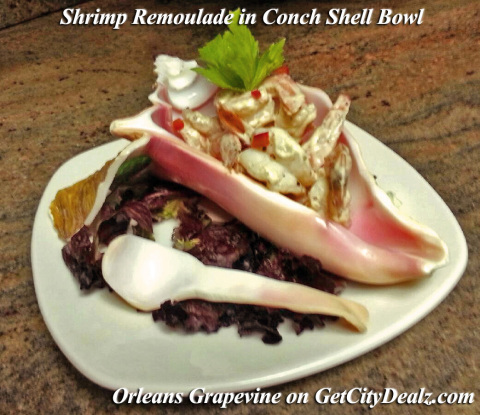 Orleans Grapevine is utilizing Get City Dealz to promote a Shrimp Remoulade served in a beautifully hand carved Conch Shell from Belize. (Photo: Business Wire)