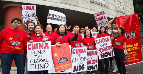 MEXICO—A group of AIDS protesters demanding that China pledge $1 billion to the Global Fund protest in front of the Chinese Consulate in Mexico City on Wednesday, October 23, 2013. (Photo: Business Wire)