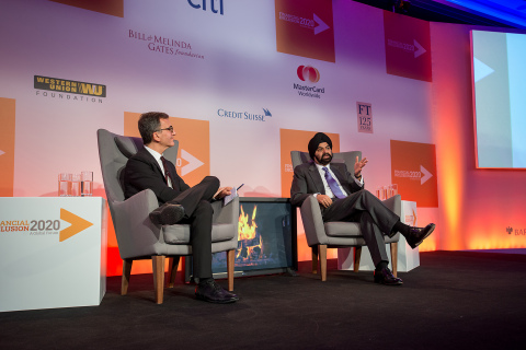 MasterCard president and CEO Ajay Banga and Accion CEO Michael Schlein at the FI2020 Global Forum di ...