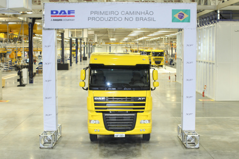 The First DAF Truck Manufactured in the Brasil Assembly Facility (Photo: Business Wire)