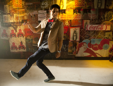 """Working with Coca-Cola and (RED), Harry Shum, Jr. (Mike Chang, """"Glee"""") moves for the MOVEment to bring an end to mother-to-child transmission of HIV. Shum and other notable dancers came together to support the cause in the official music video for Celebrate (Trashed Remix) by Empire of the Sun & Tommy Trash, which was created exclusively for (RED) and launched today on YouTube. Visit www.CokeREDMoves.com to find out how you can be part of the movement. (Photo: Business Wire)"""