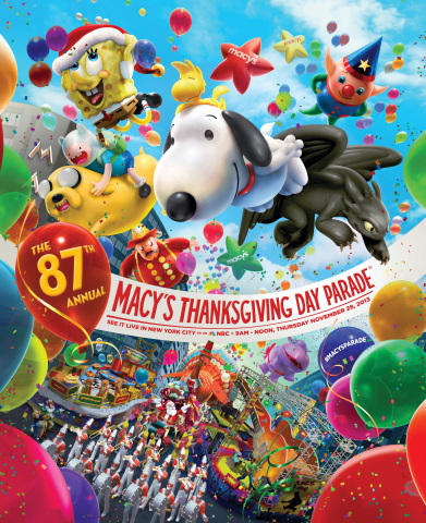 87th Annual Macy's Thanksgiving Day Parade kicks off the holiday season on Thursday. Nov. 28 live in New York City or on NBC-TV, 9 a.m.-Noon, nationwide. (Graphic: Business Wire)