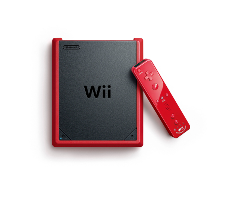 Wii mini is matte black with a red border, and comes with the Mario Kart Wii game, a red Wii Remote Plus controller and a red Nunchuk controller. While availability will differ somewhat according to location, shoppers can expect to see Wii mini in stores by the middle of November. (Photo: Business Wire)