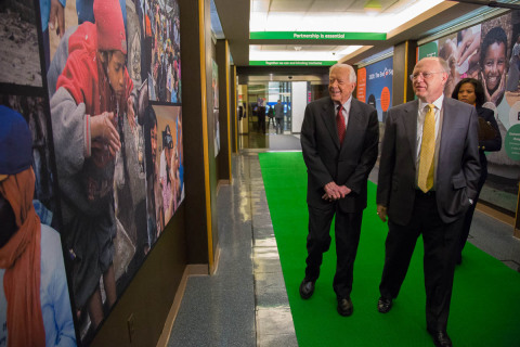 Former U.S. President Jimmy Carter, Founder of The Carter Center, and Ian Read, CEO, Pfizer Exhibit  ...