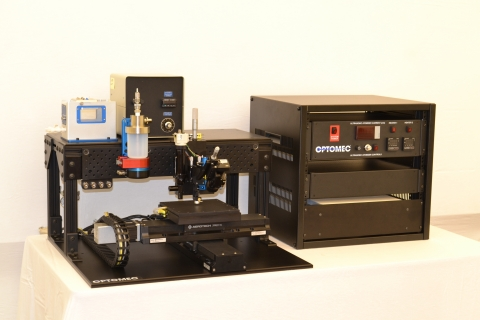 Aerosol Jet 200 benchtop system for printed electronics configured with ultrasonic and pneumatic ato ...