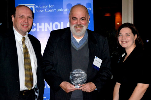 Art Rosenberg of Business Wire (left), Greg Jarboe of SEO-PR (center), and Michelle Gagne of Business Wire (right) accept the SNCR New Communications Award in the Visual Media Category of the Corporate Division at last night's gala ceremony. (Photo: Business Wire)