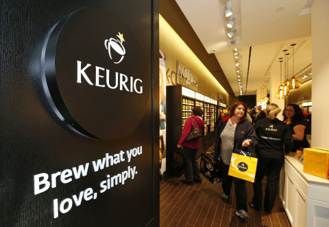 Customers fill the country's first ever Keurig Store on the first day of business. (Mandatory Credit ...
