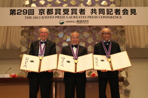 Dr. Robert Dennard, Dr. Masatoshi Nei and Cecil Taylor (L-R) display their diplomas and medals from  ...