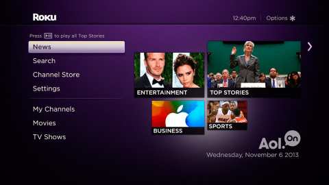 Roku Adds Integrated News Service Powered by AOL (Photo: Business Wire)