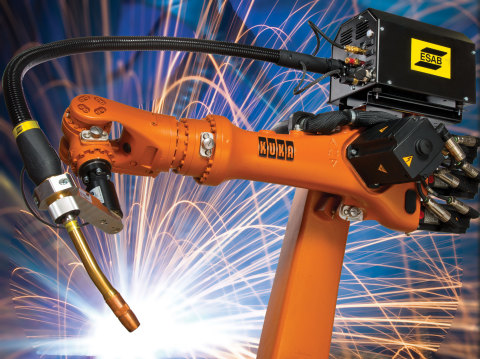 Things heat up in the KUKA Robotics booth with the debut of the new KR 5 Arc R 1400 at FABTECH. The KR 5 arc R1400 is the latest in the family of arc welding robots from KUKA. The KR5 arc R1400 sets the benchmark with compact design, low weight, speed, high repeatability and a reach of 1400mm; it's ideal for the closest of cell concepts. Accompanying the KR 5 arc R1400's space saving efforts is the utilization of the new small size KRC4 controller measuring in at 550mm in width and 4185mm in height will also make its debut. (Photo: Business Wire)