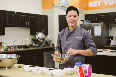 Allen Tran, MS, RD, USSA High Performance Chef, gets his good going preparing nutritious meals for U.S. Ski Team, U.S. Snowboarding and U.S. Freeskiing athletes using Blue Diamond Almonds. (Photo: Business Wire)