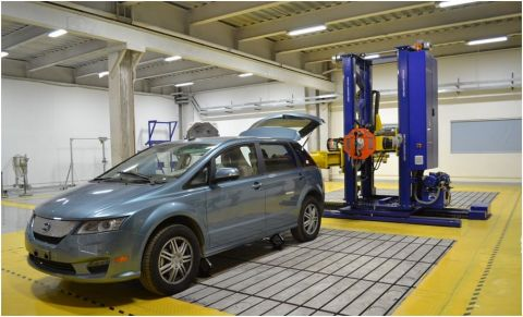 BYD all-electric e6 Taxi in the BYD Shenzhen Crash and Performance Testing Laboratories. (Photo: Bus ...