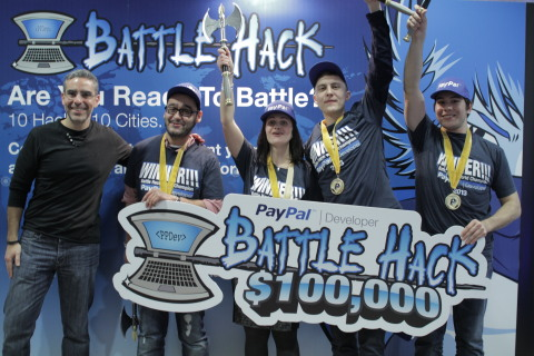 PayPal President David Marcus with Battle Hack World Finals winners Team Moscow (Photo: Business Wir ...
