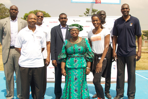 Nigeria's Finance Minister, Dr. Ngozi Okonjo-Iweala, was special guest at the launch event of the Power Forward program sponsored by ExxonMobil, NBA/WNBA and Africare in Abuja, Nigeria. Pictured from left are Obinna Ekezie, former NBA player and Chief Executive of wakanow.com; Enyi Onokala, General Manager, Public & Government Affairs, Mobil Producing Nigeria Unlimited; Darius Mans, President of Africare; Tijani Umar, President Nigeria Basketball Federation; Dr. Ngozi Okonjo-Iweala; Swin Cash, WNBA All Star; Amadou Gallo Fall, NBA Vice President Development for Africa; and NBA Hall of Famer, Hakeem Olajuwon (Photo: Business Wire)