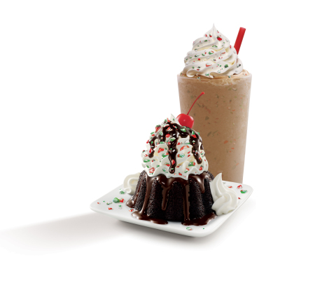 SONIC's Vanilla Holiday Mint(TM) Shake takes SONIC's hand-mixed Real Ice Cream Vanilla Shake and adds SONIC's crushed holiday mints, topped with whipped topping, more crushed mints and a cherry. The Chocolate Holiday Mint(TM) Molten Cake Sundae starts with SONIC's rich molten chocolate cake, filled with hot fudge and covered with Real Ice Cream, more hot fudge, SONIC's crushed holiday mints, whipped topping and a cherry. This instant classic is a holiday dessert with a side of dessert. (Photo: Business Wire)