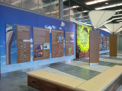 Clear Channel Airport's recently unveiled a living green educational exhibit at O'Hare as part of th ...