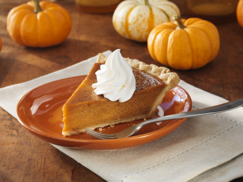 A slice of Sara Lee Oven Fresh Pumpkin Pie made with rich, smooth pumpkin and a special blend of cin ...