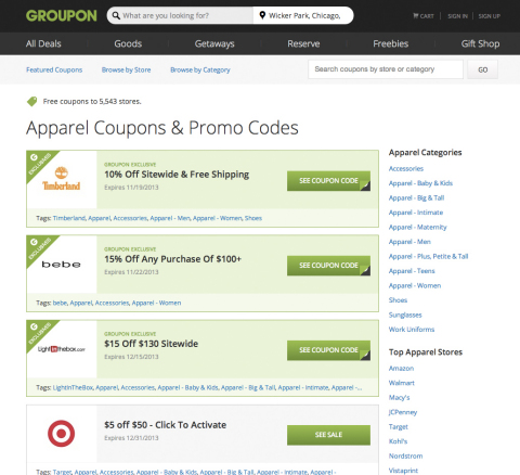 Groupon's new Freebies category (www.groupon.com/freebies) includes digital coupons, promotion codes, sales, giveaways and samples. (Graphic: Business Wire)