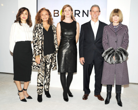 President of Amazon Fashion Cathy Beaudoin, Diane von Furstenberg, US Ambassador to the United Nations Samantha Power, CEO OF BORNFREE John Megrue and Anna Wintour at the Press Announcement event for the BORNFREE campaign (Photo: Business Wire)