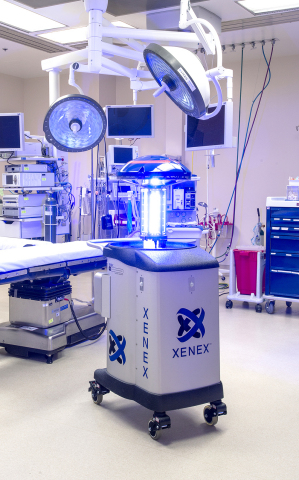 Xenex, the world leader in UV room disinfection systems for healthcare facilities, has secured $11.3 million in funding. The company recently unveiled the next version of its automated room disinfection device which utilizes pulsed xenon UV light to quickly destroy deadly pathogens in hospital rooms. (Photo: Business Wire)