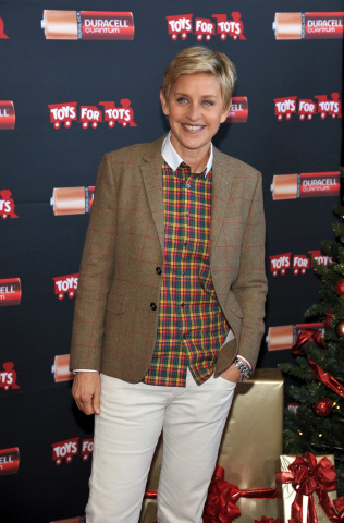 "Ellen DeGeneres launches Duracell ""Power a Smile"" Program that will donate up to 1 million batteries to Toys for Tots, triggered by the purchase of eligible Duracell battery packs, on Friday, Nov. 22, 2013 in Los Angeles. (Photo by John Shearer/Invision for Duracell/AP Images)"