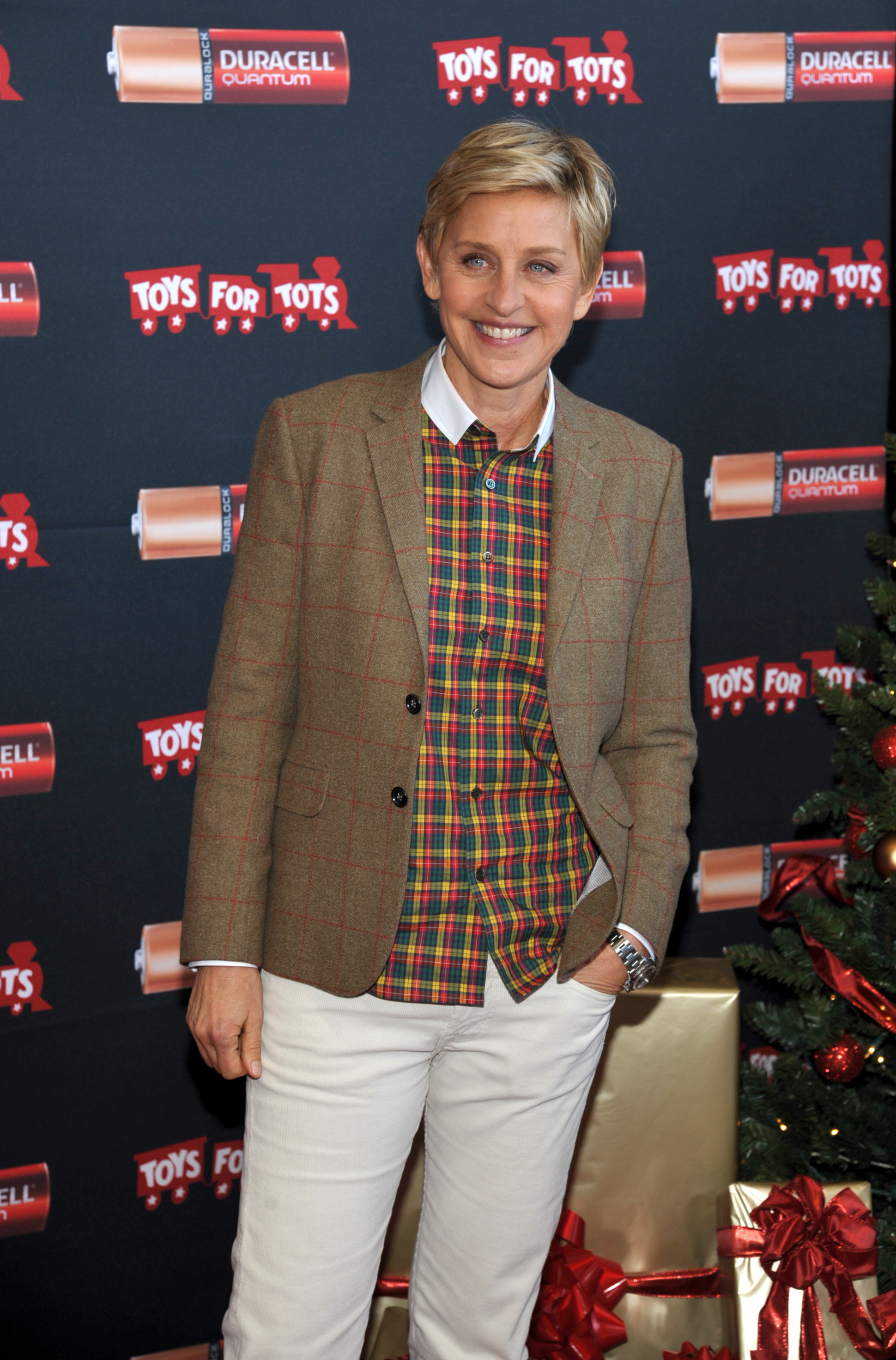 """Ellen DeGeneres launches Duracell """"Power a Smile"""" Program that will donate up to 1 million batteries to Toys for Tots, triggered by the purchase of eligible Duracell battery packs, on Friday, Nov. 22, 2013 in Los Angeles. (Photo by John Shearer/Invision for Duracell/AP Images)"""