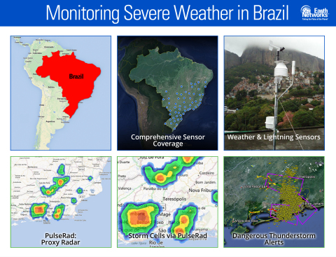 Earth Networks, as part of a public-private partnership with the National Institute for Space Research (INPE) and partner Simtech, has helped establish the Brazilian Total Lightning Network (BrasilDAT). Data from the lightning sensors enables PulseRad, a proxy radar product; automated Dangerous Thunderstorm Alerts (DTAs); and real-time observations and forecasts. (Graphic: Business Wire)