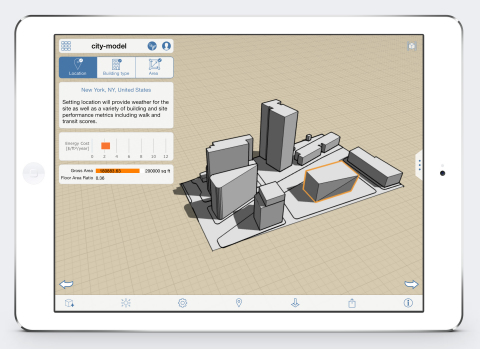 Autodesk FormIt for iPad now includes features that enable simple indications of potential building energy performance costs. (Photo: Business Wire)