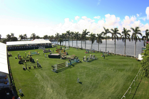 A scenic setting for equestrian show jumping on the Intracoastal Waterway at The Mar-a-Lago Club for the $125,000 Trump Invitational presented by Rolex. Photo (c) Sportfot.