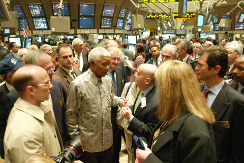 Nelson Mandela visiting the NYSE floor on May 9, 2002.