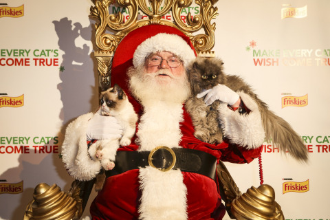 """Friskies """"spokescat"""" Grumpy Cat and Colonel Meow sit on Santa's lap at the world premiere event to debut the first-ever holiday music video """"Hard to Be a Cat at Christmas"""" supporting the cause of wet cat food for all cats this holiday season, Tuesday, Dec. 10, 2013, at Capitol Records in Los Angeles. The video is available at www.friskies.com/holiday. (Bret Hartman/AP Images for Friskies)"""
