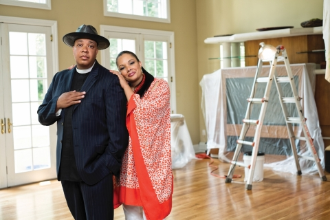 Rev Run and wife Justine Simmons in DIY Network's Rev Run's Renovation (Photo: Business Wire)