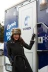 Jillian Harris enters the Charmin Holiday Potty - a luxury pop-bathroom - to make the inaugural flush at the Distillery Historic District Toronto Christmas Market. #HolidayPotty (Photo: Business Wire)