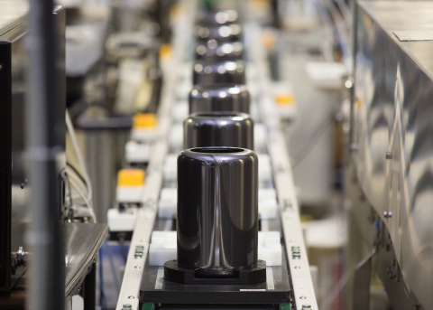 The first of Apple's new Mac Pro rolls off the line. Designed and assembled in the US, the all new Mac Pro is available to order starting tomorrow. (Photo: Business Wire)