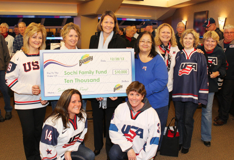 Bounty presents the Team USA Hockey Moms with a $10,000 donation to the USAH Sochi Family Fund to he ...