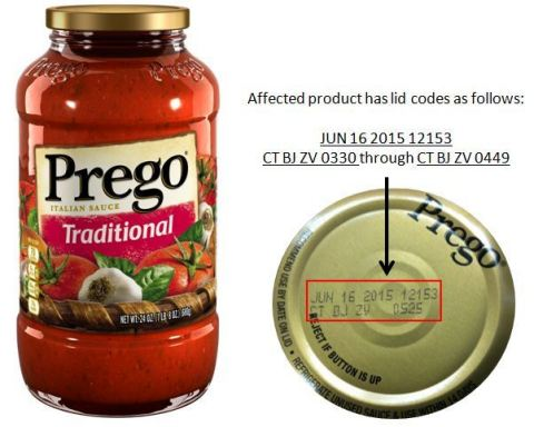 Approximately 300 cases of Prego(R) Traditional Italian Sauce recalled due to a risk of spoilage. (Photo: Business Wire)