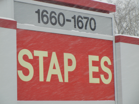 What the L is going on at Staples? The original store in Brighton, MA is missing a letter. (Photo: B ...