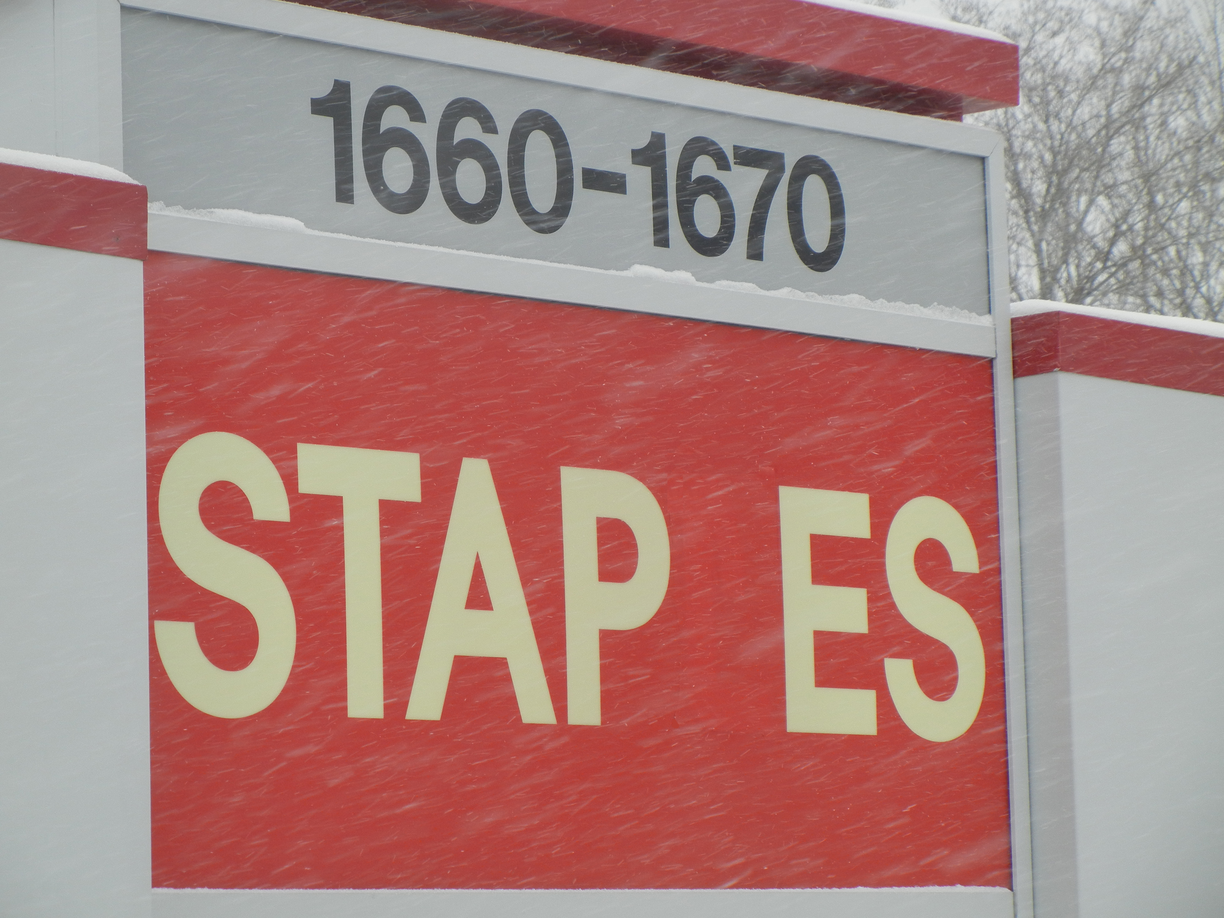 What the L is going on at Staples? The original store in Brighton, MA is missing a letter. (Photo: Business Wire)