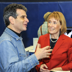 FIRST® Founder, Dean Kamen explains the 2014 season FIRST® Robotics Competition game, AERIAL ASSIST, to New Hampshire Governor, Maggie Hassan. (Photo: Business Wire)