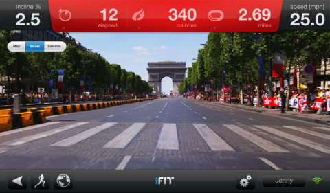 iFit technology is partnered with Google Maps. Draw a map anywhere in the world, and watch Google Street View of the route. Experience the terrain of the route drawn as iFit automatically adjusts incline and decline of the treadmill, elliptical, bike or incline trainer in sync with the geo-tags embedded in the map. (Photo: Business Wire)