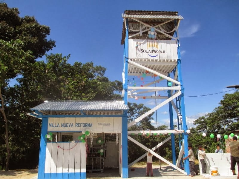 By the end of 2013, SolarWorld, WMI and Rotary installed 25 solar-powered, water-purification systems in Africa, Latin America and the Caribbean, including this one in Nueva Reforma, Peru. (Photo: Business Wire)