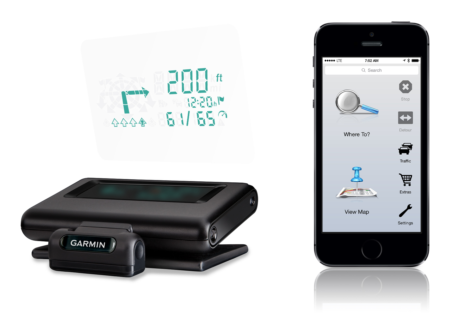 HUD+ combines Garmin's popular portable head-up display with a new, free companion smartphone app. (Photo: Business Wire)