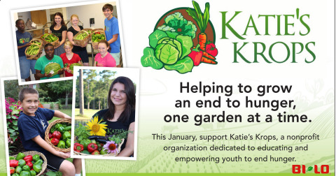 BI-LO, LLC is partnering with Katie's Krops, a non-profit organization that empowers kids to fight hunger one vegetable garden at a time. Now through Jan. 28, BI-LO customers can make a donation of any size to Katie's Krops at any store register when they purchase their groceries. (Graphic: Business Wire)
